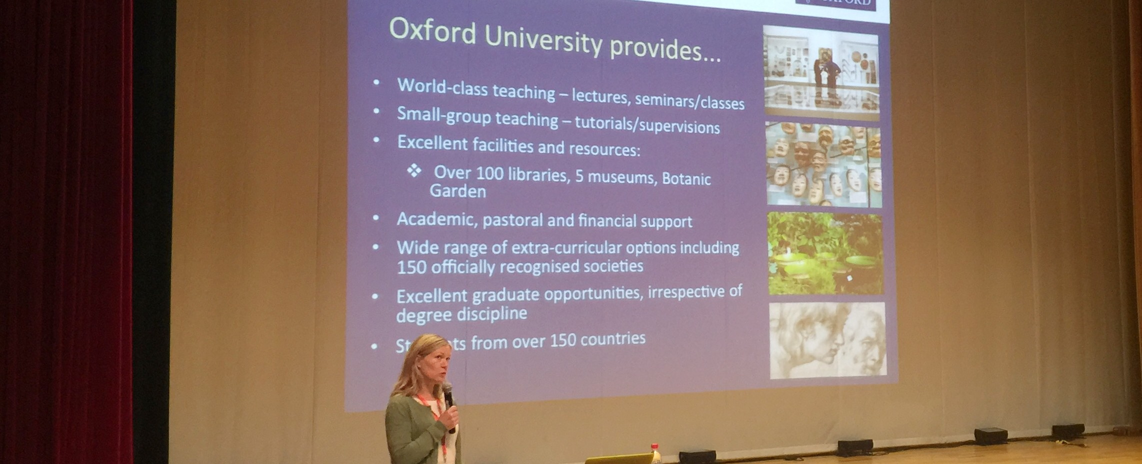 Ms Hamilton, Undergraduate Student Recruitment Officer East-Asia for University of Oxford, presents at Dulwich Suzhou