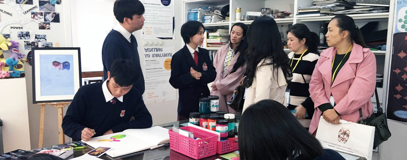 students guiding parents for classroom tours